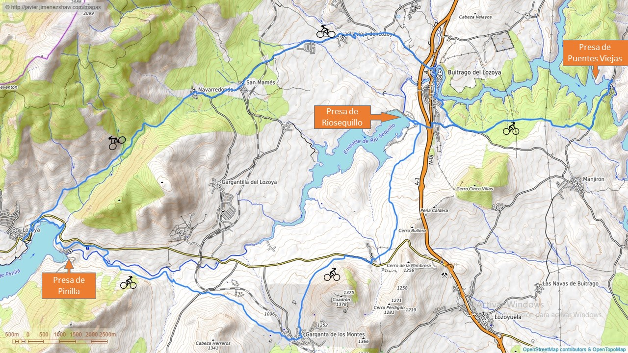 route through the dams